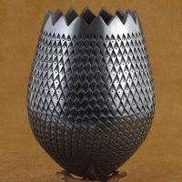 Authentic Mata Ortiz Black on Black Tulip Shape Pottery Vase by