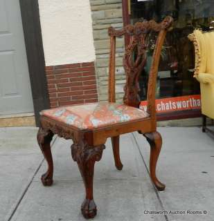 Carved Solid Mahogany Chinese Chippendale Dining Room Chairs