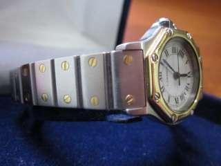 Santos de Cartier Octagon Ladies Watch Bezel 18k gold & Stainless