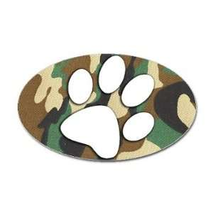 Oval Hunting Dog Paw Print Camouflage Sticker/Decal
