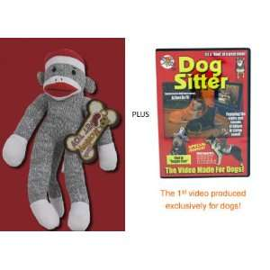 Pet Sock Monkey Squeaker Toy Plus Dog Sitter DVD