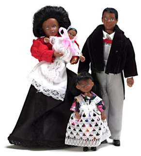Dollhouse Miniature vinyl black Victorian doll family people Dad/Mom