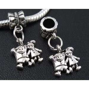 Silver Boy/Girl Dangle Charm Bead for Bracelet or Necklace