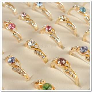 Wholesale Lots of 50 PCS Gold Plated Rhinestone Crystal Rings 50A30