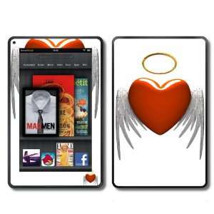 Kindle Fire Skins Kit   Red Heart Angel Wings with Halo   Skins