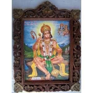Lord Hanuman Reciting Sita Ram poster painting in Wood