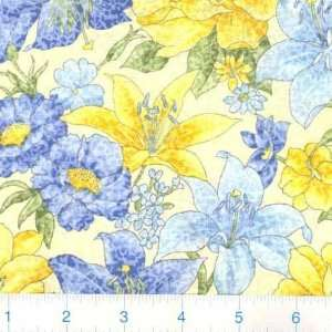 45 Wide Morning Mist Large Floral French Blue Fabric By
