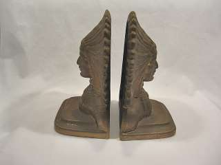 Bookends Native American Indian Bronze Metal Gold Paint