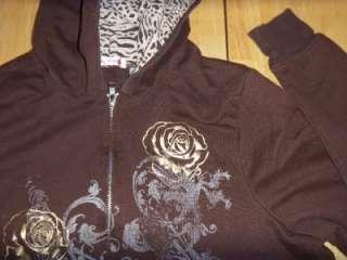 WOMENS HOODIE Sweatshirt BIG FLIRT Brown ZIP UP SIze 1X Plus Size Item