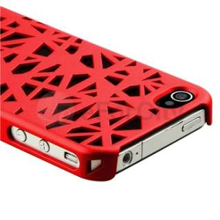 Interwove Line Birds Nest Style Rear Red Hard Case Cover for iPhone 4