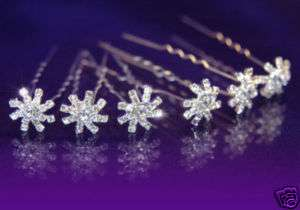 SALE 6 pcsX Bridal Prom Flower Crystal Hair Pins P1091