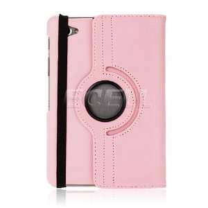 Ecell   PINK ROTATING LEATHER FOLIO CASE & STAND FOR