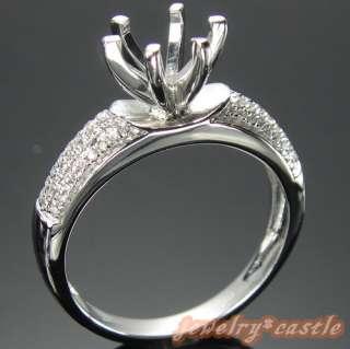 14K WHITE GOLD DIAMOND ENGAGEMENT SEMI MOUNT RING SETTING 6 PRONG RING