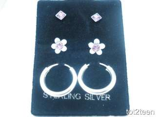 925 Sterling Silver Trio Set Lot Children Kid CZ Strawberry Hoop