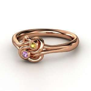 Lovers Knot Ring, 14K Rose Gold Ring with Amethyst & Citrine Jewelry