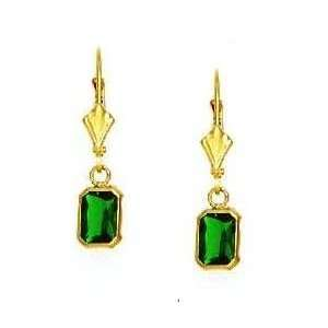mm Emerald Cut Emerald Green CZ Drop Earrings   JewelryWeb Jewelry