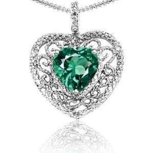 Lab Created Heart Shaped Emerald and Diamond Pendant(MetalWhite Gold
