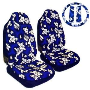 5pc Hawaiian Car Seat, Belt, Steering Wheel Cover, Blue
