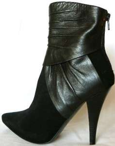 NEW 100% LEATHER SUEDE ALDO ANKLE HIGH BLACK BOOT 6