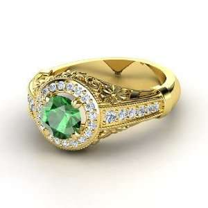 Primrose Ring, Round Emerald 14K Yellow Gold Ring with