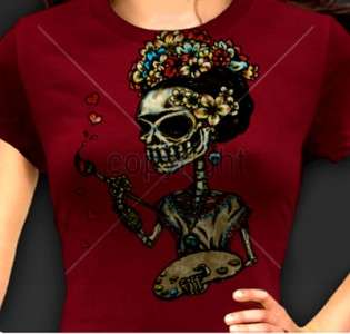 Rockabilly Day Of The Dead Dia De Los Muertos T Shirt S 3XL