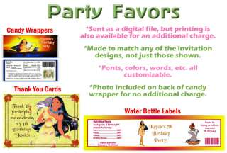 Pocahontas ~ Birthday Party Ticket Invitations, Supplies, and Favors