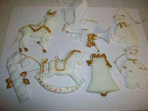 Vintage White Plastic Christmas Tree Ornaments Bear Cat Bell Rocking