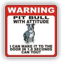 PIT BULL BLACK DOOR WARNING DECAL STICKER PET DOG