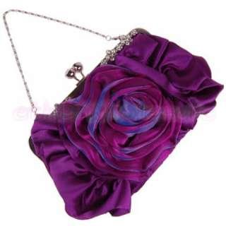 Rose Flower Satin Wedding / Evening Handbag Clutch Bag