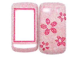 RED PINK DAISY FLOWERS DIAMOND BLING CRYSTAL FACEPLATE CASE COVER LG