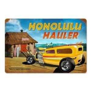Honolulu Hauler Vintage Metal Sign Hot Rod Classic