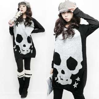 Style Womens Boat Neck Skull Mini Dress Loose Long T shirt**