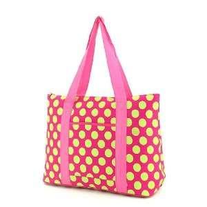 Large Polka Dots Print Tote Bag   Pink & Lime Green