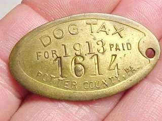 1913 Brass POTTER COUNTY Pa. DOG TAX License Tag