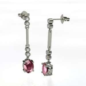 Stiletto Earrings, Oval Rhodolite Garnet 14K White Gold Earrings with