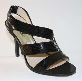 Womens Shoes NIB Michael Kors FARRIS Dress Sandal Sequin Black PROM
