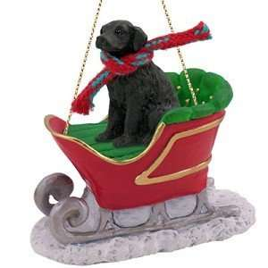Flat Coated Retriever Dog Sleigh Holiday Christmas