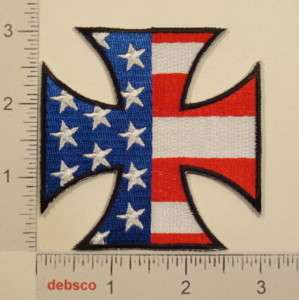 AMERICAN FLAG Maltese IRON CROSS Motorcycle BIKER PATCH