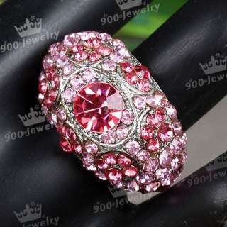 CRYSTAL RHINESTONE EVIL EYE COCKTAIL PARTY FINGER RING HOT SALE