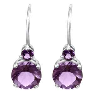 14k White Gold Pink Amethyst Fishhook Dangle Earrings Jewelry