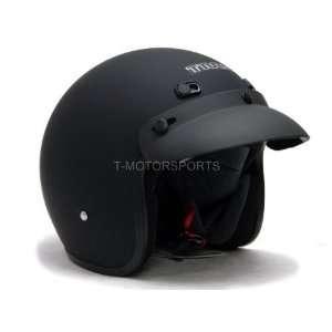 TMS Flat Matte Black Vintage Open Face Motorcycle Helmet