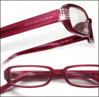 Andrea Jovine Rhinestone 2.50 Reading Glasses Wine Red Optical Frame