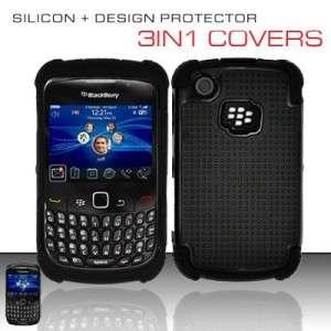 BLACK TRIPLE LAYER HYBRID IMPACT HARD CASE PHONE COVER BLACKBERRY