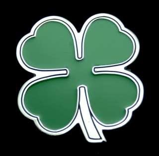 LUCKY FOUR LEAF IRISH CLOVER BELT BUCKLE