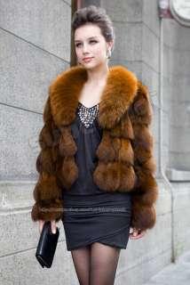100% Real Genuine Fox Fur Coat Big Fox Collar Wearcoat Jacket Vintage