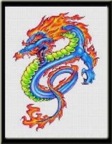 COLORFUL CHINESE DRAGON   Cross Stitch Pattern/Kit