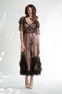 Nataya Black/Beige BALLERINA Chiffon Dress  L or XL