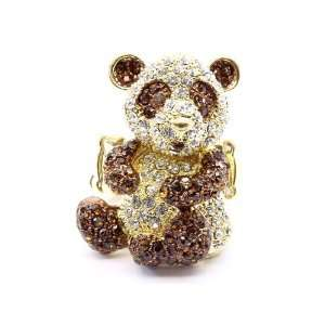 Panda Panda Brown crystals bling cocktail Panda Ring