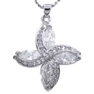 JEWELRY WHITE TOPAZ GEM GOLD GP PENDANT FREE NECKLACE JEWELRY