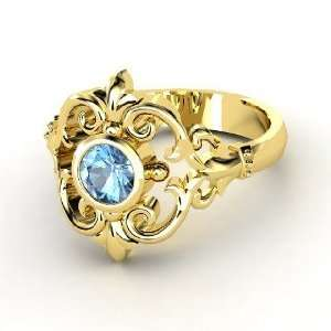 Winter Palace Ring, Round Blue Topaz 14K Yellow Gold Ring Jewelry